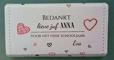 Gepersonaliseerde Chocolade - Afscheid Juf of Meester - Eind van het schooljaar by Juffenkado on Etsy