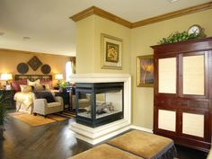 Badger finals and fireplaces on pinterest for Three way fireplace