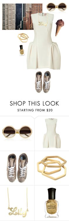 """""""Late Summer"""" by sonus-silentio ❤ liked on Polyvore featuring Marni, Roksanda Ilincic, Philippe Model, Noot, Deborah Lippmann, white dresses, gold jewelry, monogram jewelry, high top sneakers and big shades"""