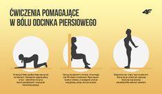 Ćwiczenia pomagające w bólu odcinka piersiowego Pilates, Health Fitness, Advice, Yoga, Sports, Workouts, Women, Pop Pilates, Hs Sports