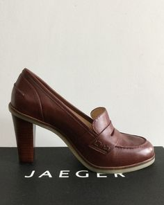 Jaeger Piccadilly Heeled Loafer in Brown UK5