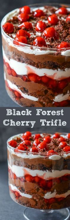 Trifle Recipes for the Sweetest Holiday Ever Black Forest Trifle - layers of chocolate cake, chocolate pudding, whipped cream and cherry filling!Black Forest Trifle - layers of chocolate cake, chocolate pudding, whipped cream and cherry filling! Keks Dessert, Dessert Oreo, Low Carb Dessert, Dessert Trifles, Easy Desserts, Delicious Desserts, Dessert Recipes, Chef Recipes, Recipies