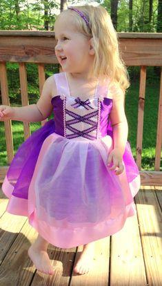 Rapunzel Tutu Dress: Purple sparkle tulle with pink center trim & straps, Tangled Costume, Birthday Party, Disney Trip, adjustable