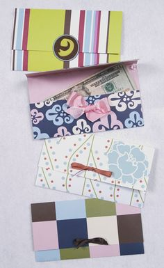 """Use these cards for cash, checks, gift certificates or gift cards. The items won't fall out and if you want to mail them, they will fit in a standard size business envelope.    They just take one piece of standard 12"""" x 12"""" scrapbooking paper."""