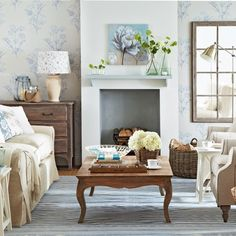 Country living room pictures and photos for your next decorating project. Find inspiration from of beautiful living room images Blue And Cream Living Room, Living Room Grey, Living Room Modern, Living Room Decor, Living Area, Trendy Living Room Wallpaper, Living Room Images, Chimney Decor, Beautiful Living Rooms