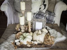Free Fall Printable Art and a Little Vignette in Our Living Room Neutral Fall Coffee Table Decor Ideas