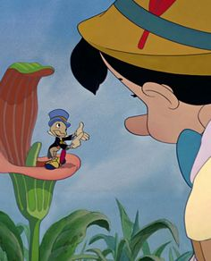 Jiminy Cricket and Pinocchio Walt Disney, Disney Love, Disney Magic, Disney Pixar, Disney Characters, Pinocchio Disney, Disney Mickey, Disney Movie Scenes, Classic Disney Movies