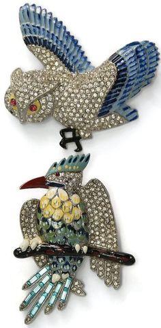 Coro Enamel Rhinestone Geissmann Parrot Pin Brooch 1930's