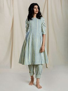 Peach Handloom Mulmul Striped Cowl Tunic with Short Slip Cotton Pants - Set of 2 Silk Kurti Designs, Kurta Designs Women, Kurti Designs Party Wear, Blouse Designs, Frock Fashion, Fashion Outfits, Ladies Fashion, Fasion, Fashion Trends