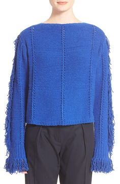 NOW ON SALE!!! This 3.1 Phillip Lim Lush, swingy fringe lends bohemian allure to a richly hued bateau-neck sweater paneled in a chic cropped silhouette and softened with a kiss of cashmere. Perfect sw