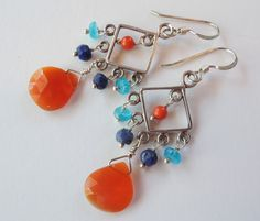Carnelian, Lapis, Coral, Quartz Sterling Silver Chandelier Earrings – Beth Lerner Jewelry http://bethlernerjewelry.com/collections/frontpage/products/carnelian-lapis-coral-quartz-sterling-silver-chandelier-earrings