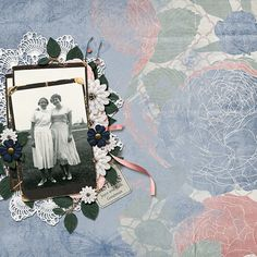 """""""Sisters"""" layout using ScrapSimple Embellishment Templates:  Stacked Photos 3 - Vintage"""