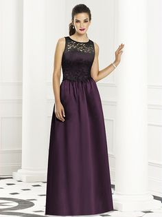 Full length sleeveless dress w/ black or ivory lace bodice over matte satin.  Full shirred skirt with pockets at side seams. Also available cocktail length as style 6656. Sizes available: 00-30W, and 00-30W extra length.  http://www.dessy.com/dresses/bridesmaid/6657/