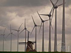 Dutch windmills, old versus new.