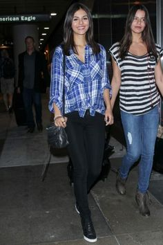 Victoria Justice wearing Rebecca Minkoff Zach Mini Backpack, Express Oversized Plaid Shirt and Lokai Classic Bracelet
