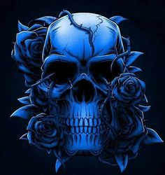 Blue, with roses