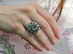 Blue grey, bordeaux and turquoise flower ring, polymer clay ring, adjustable filigree ring, copper ring, summer ring, present for her