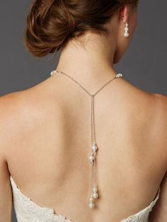 Our top-selling glass pearl bridal back necklace has a choker in front and 2 dramatic drops in back. Our lariat back necklace is hand-made in the US. Back Necklace, Bridal Necklace, Bridal Jewelry, Necklace Ideas, Gold Jewellery, Wire Jewelry, Jewelry Sets, Silver Jewelry, Jewelry Making