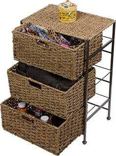 Trademark Innovations in. x 24 in. Seagrass and Metal Basket Storage Chest Side Table, Brown Wicker Storage Trunk, 3 Drawer Storage, Storage Baskets, Storage Chest, Storage Ideas, Blue Drawers, Metal Drawers, Chest Drawers, Bedside Organizer
