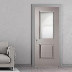 Arnhem Grey Primed Internal Door with Clear Safety Glass - Lifestyle Image. Grey Internal Doors, Internal Folding Doors, Grey Doors, Oak Doors, Gray Interior, Contemporary Interior, Interior Door, Primed Doors, Door Fittings