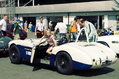Austin Healey race car in the paddock at Silverstone race track