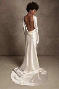 Danielle Frankel - Simone Gown – LOHO BRIDE Dream Wedding Dresses, Bridal Dresses, Backless Wedding Gowns, Satin Wedding Gowns, Silky Wedding Dress, Backless Gown, Minimalist Wedding Dresses, Minimalist Gown, Minimal Wedding Dress