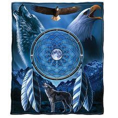Dream Catcher with Wolf and Bald Eagle, Blue Fleece Throw Blanket 50 X 60