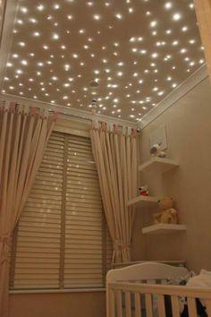 Faux foam board ceiling with twinkle lights