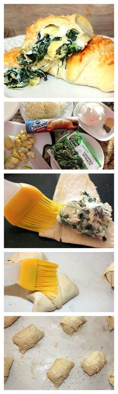Crescents stuffed with spinach and artichoke dip make for a delicious game day…