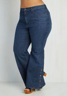 ef8f98fe5b7 Faster and Fastener Jeans in Plus Size. Get ready in a snap by styling  these flared blue jeans!  gold  prom  modcloth