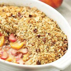 Peach, Rhubarb & Ginger Crisp Recipe | Kitchen Daily