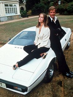 A 'Cool Ride' and Cool people from the seventies ... Roger Moore & Barbara Bach pose at Pinewood Studios with the Lotus from the Bond movie.