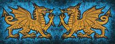 Dragón de oro galés heráldica heráldica por SpiderStitchesParlor