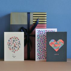 "Gift wrap ""Aligned"", greeting cards ""hello little baby"", ""Confetti"" and ""Love"""