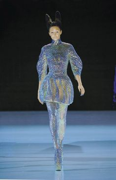 "Alexander McQueen  ""Jellyfish"" Ensemble  in 'Plato's Atlantis', spring/summer 2010 . Dress, leggings, and ""Armadillo"" boots all embroidered with iridescent enamel paillettes ."
