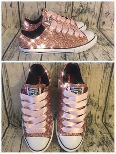 8ecc32b5ae70 Women's Sparkly Rose Gold Pink Glitter Converse All Stars Bride Wedding  Shoes sneakers