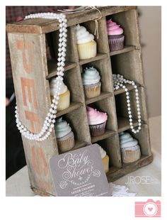 rustic themed baby shower, baby girl shower, cupcakes and beads Baby Shower Cupcakes For Girls, Baby Girl Shower Themes, Baby Shower Decorations, Shower Party, Baby Shower Parties, Baby Shower Gifts, Baby Showers, Porta Cupcake, Cupcake Display