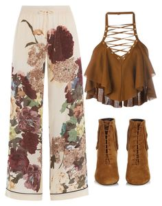 Brown & White by carolineas on Polyvore featuring polyvore, fashion, style, Balmain, Valentino, Yves Saint Laurent and clothing