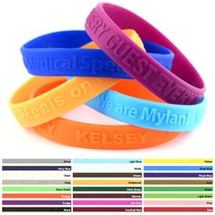 Promotional 1/2-inch Embossed Silicone Awareness Wristbands | Customized 1/2-inch Embossed Silicone Awareness Wristbands | Promotional Awareness Bracelets