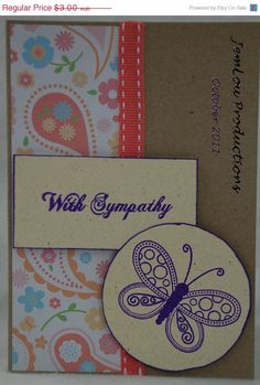 With Sympathy Card Handmade Card by JemLouProductions on Etsy, $2.40