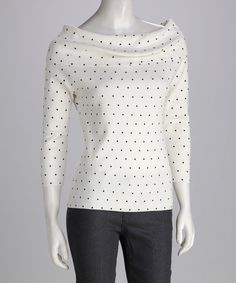 Again, 3/4 sleeve...i like the dots...and, the boat neck collar...and, the thing flatters your figure.  Pair this with some sweet ass skinny black jeans and silver sunnys??  BLAM. BLAMMMO!     Take a look at this Cyrus Black & Bone Dot Boat Neck Top by Red & Cyrus on #zulily today!