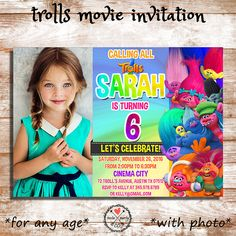 Trolls Movie Birthday Party Invitation With Photo by InstaPartyCo