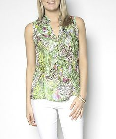 Suzy Printed Ruffle Front Blouse ($25) Available In-Store & Online www.suzyshier.com