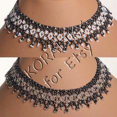 Modern Ukrainian Glass Handmade Jewelry Beads Beaded Necklace Gerdan: Gray Metallic /WHITE or Gray Metallic / SILVER.