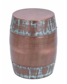 Durable Copper Metal Stool with Patina Finish - add  to your living space and add a touch of elegance to your home interior. It saves a lot of space and yet will make your home look modern and trendy. Made from sturdy metal, this stool can be stored easily when not in use. An assorted stain and blue finish on the stool simply adds to the classy look.