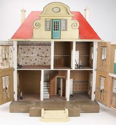 Large Gottschalk Red Roof Doll House Interior
