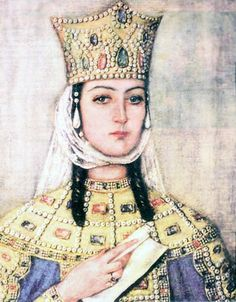 Queen Tamar, 1184-1213  The first woman to rule the nation of Georgia in her own right, Queen Tamar is honored by both her nation and her church. By any account, she was a remarkable woman and an enlightened, successful ruler who managed to hold her throne, despite opposition from her own nobles, and brought her nation into a Golden Age.     Tamar was born in 1160 to George III and his consort Burdukhan.
