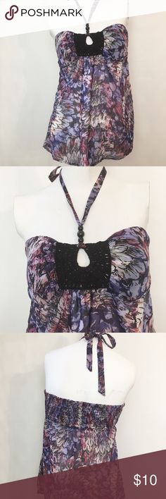 "NWT 2b Bebe Halter Top NWT 2b Bebe Halter Top. Size Medium. 100% polyester. Has front lining. 30"" bust (does have back elastic at bust line), 19"" length (bust to hem). Color: purple, cream, black. 2b Bebe Tops"