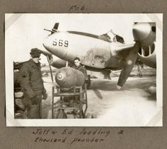 ", 1945 - Belgium - ""Jeff & Ed loading a thousand pounder"" Wwii, Lightning, Fighter Jets, Belgium, Group, World War Ii, Lighting, Hunting"