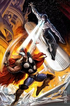 Thor vs. Silver Surfer. A classic telling of the never-ending war between working class carpenters and bald hippy beach bums.